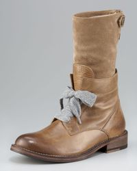 Brunello Cucinelli | Brown Mid-calf Lace-up Boot | Lyst