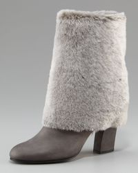 Casadei | Gray Shearling Fold-Over Bootie | Lyst