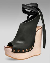 Chloé - Natural Tie-up Wedge Clog - Lyst