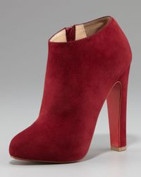 Christian Louboutin | Brown Suede Thick-heel Bootie | Lyst