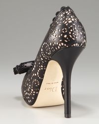 Dior | Black Laser-cut Bow Platform Pump | Lyst