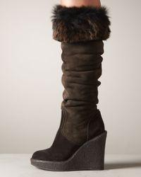 Donna Karan | Brown Fur-Trim Wedge Boot | Lyst