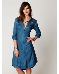 Free People | Blue Linen Chambray Shirtdress | Lyst