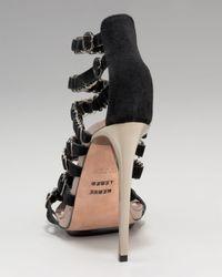 Hervé Léger | Black Suede Ring Sandal | Lyst