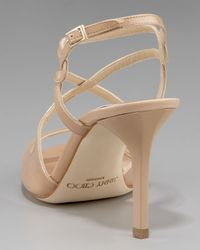 Jimmy Choo - Natural Strappy Patent Sandal - Lyst