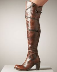 Mark Nason | Brown Zig-zag-zip Over-the-knee Boot | Lyst