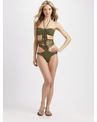 Mara Hoffman | Green One-Piece Macrame Swimsuit | Lyst