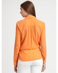 C&C California | Orange Cotton Drawstring-waist Blouse | Lyst