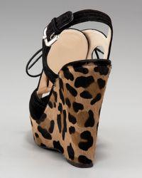 Prada   Black Lace-up Wedge Sandal   Lyst