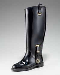 Ralph Lauren Collection | Black Odette Rubber Rain Boot | Lyst