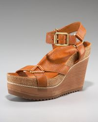 Tory Burch | Brown Brenden Wedge Sandal | Lyst