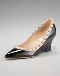 Valentino | Black Studded Patent-leather Wedge Pumps | Lyst