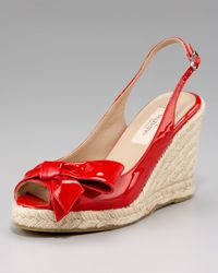Valentino - Red Mena Patent Espadrille Slingback - Lyst