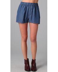 Acne Studios | Blue Bacall Denim-effect Shorts | Lyst