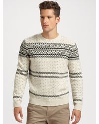 A.P.C. | Natural Wool Fair Isle Sweater for Men | Lyst