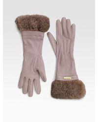 Burberry - Brown Juliette Rabbit Fur-trimmed Leather Gloves - Lyst