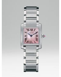 Cartier - Gray Tank Francaise Small Pink Mother-of-pearl & Stainless Steel Bracelet Watch - Lyst