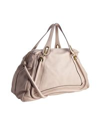 Chloé | Natural Light Rose Calfskin Paraty Large Top Handle Bag | Lyst