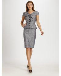 Dior | Metallic Silk Tweed Pencil Skirt | Lyst