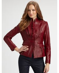 Elie Tahari | Red Becca Leather Jacket | Lyst