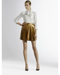 Gucci | Metallic Pleated Leather Skirt | Lyst