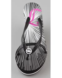 Juicy Couture - Black Lisa High Wedge Rubber Flip Flops - Lyst