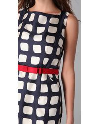 MILLY - Blue Navy and Cherry Belted Sheath Dress - Lyst