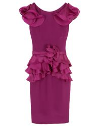 Notte by Marchesa | Purple Organza Ruffle Dress | Lyst