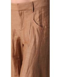 Theyskens' Theory - Natural Pluto Wide Leg Linen Blend Pants - Lyst