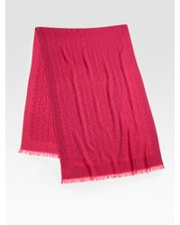 Tory Burch   Pink Wool All-Over Logo Scarf   Lyst