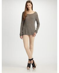 VINCE | Gray Linen Boatneck Sweater | Lyst
