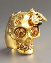 Alexander McQueen - Metallic Skull & Bee Ring, Golden - Lyst