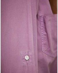 ASOS Collection - Purple Asos Cropped Tie Front Denim Shirt in Lilac - Lyst