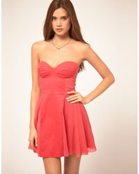 ASOS Collection | Pink Asos Strapless Skater Dress with Sweetheart Neckline | Lyst