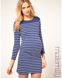 ASOS | Blue Maternity Dress In Cotton Breton Stripe | Lyst