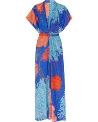 Issa | Blue Printed Silk Kimono Maxi Dress | Lyst