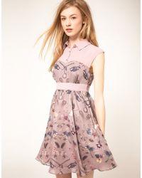 Ted Baker | Purple Curiosity Print Sleeveless Shirt Detail Dress | Lyst