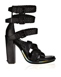 Alexander Wang - Black Petra Textured-leather Sandals - Lyst