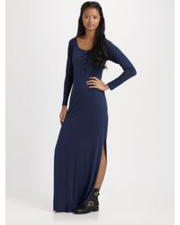 Daftbird Cotton and Modal Side-slit Maxi Dress in Blue (army) | Lyst