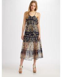 Joie - Blue Izzy Silk Ikat-print Racerback Maxi Dress - Lyst