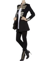 Alice By Temperley | Black Riley Embellished Wool-jersey Coat | Lyst