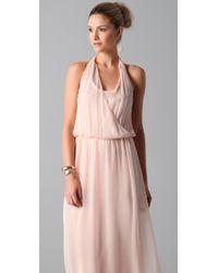 Alice + Olivia   Pink Wrap Front Halter Maxi Dress   Lyst