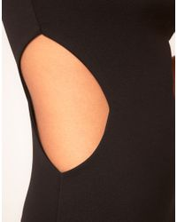 ASOS Collection - Black Asos Petite Exclusive Dress with Cut Out Sides and Pleat Neck Detail - Lyst