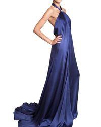 Ferragamo - Blue Jewelled Silk Sable Long Dress - Lyst