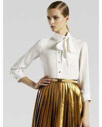 Gucci | White Silk Tie Collar Shirt | Lyst