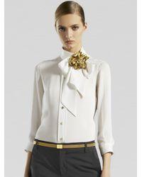 Gucci - White Silk Tie Collar Shirt - Lyst