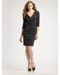 Kay Unger | Gray Shawl Collar Dress | Lyst