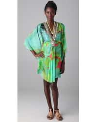 Matthew Williamson Escape | Green Glamour Short Caftan | Lyst