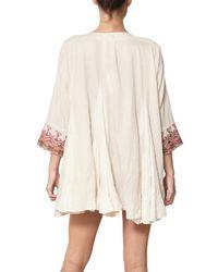 Mes Demoiselles - Natural Folk Embroidered Cotton Gauze Dress - Lyst