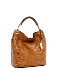 Michael Kors | Brown Skorpios Large Crocodile-Embossed Shoulder Bag, Barley | Lyst